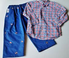 Boys PIPPERS blue football pants 4T red white plaid dress shirt outfit royal set