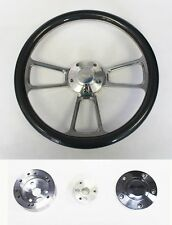 "Falcon Thunderbird Galaxie Steering Wheel Carbon Fiber and Billet 14"" Ford Cap"
