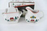 1 Joy Of Christmas Stoneware Sugar & Creamer Set Jamestown China & Box Vintage