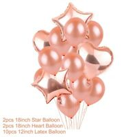 Rose Gold Foil Balloon Set Helium Confetti Birthday Wedding Party Love Decor WX