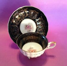 Footed Teacup And Saucer - Black And Gold Filigree With Roses - Castle - Japan