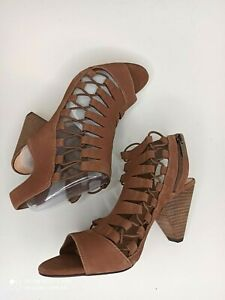 Vince Camuto Leather Women Effel Sandals Heel Shoes Strappy Open Toe Sz 8 Brown