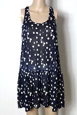 H&M Kleid Gr. S blau mit creme-weißen Punkten kurz/mini Träger Hüft Kleid