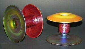 Rare DURAND Art Glass KingTut Candleholders Sgd c1925 Tiffany Steuben Quezal Era