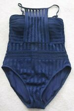 Kenneth Cole New York Tough Luxe Textured High Neck 1pc Swimsuit Sz XL Midnight