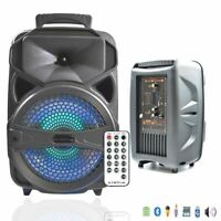 8'' Portable Rechargeable Bluetooth Tailgate Speaker LED w/ USB TF Card Reader