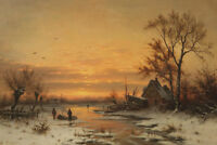 """perfect 36x24 oil painting handpainted on canvas """"winter sunset """"@NO8385"""