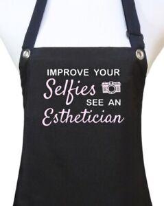 "Esthetician Apron ""IMPROVE YOUR SELFIES"" black salon waterproof facials new"