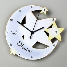 Childrens Personalised Moon and Stars Shape Wooden Bedroom Clock - Add Name Gift