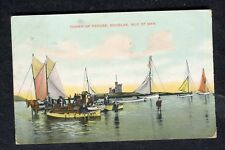 Posted 1908 View of Fishing Boats & Men, Tower Refuge, Isle of Man