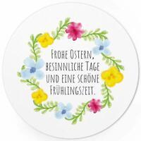 48 Oster-Aufkleber Set Frohe Ostern Geschenke Sticker Etiketten rund Blumen Text