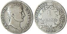 NAPOLÉON I°  ,  1  FRANC  ARGENT ,  REVERS  RÉPUBLIQUE  ,  1808  BB  STRASBOURG