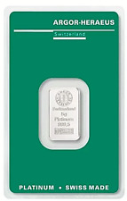 5 Gramm Platinbarren ARGOR-HERAEUS  999.5 mit Zertifikat / Aurofix