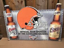 "coors beer advertising browns Nfl sign metal 30"" x 20"""