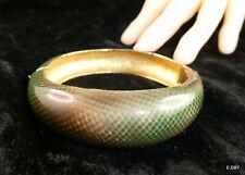 BRACELET articulé, emaillé, vert brun façon peau de serpent