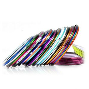 30PCS Mixed Colors Rolls Striping Tape Line Nail Art Tips Decoration Sticker US