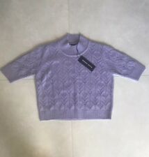 NWT Markus Lupfer Wool Hayley Lace Tee Jumper Lilac size S $300
