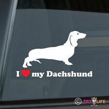 I Love My Dachshund Sticker Die Cut Vinyl - Doxie Weiner Dog - Chose Color