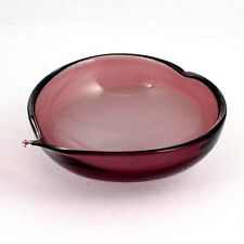 Flygsfors Coquille Amethyst Glass Bowl Scandinavian Art Glass White Signed