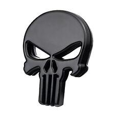 1pcs Motorcycle Auto DIY Skull Punisher Black Metal Emblem Badge Decals Sticker
