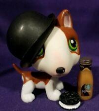 Littlest Pet Shop #154 Pitt Bull Terrier Dog Brown White Green Eyes Red Magnet