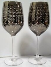 "2 coordinating wine glasses with silver geometric design,  9"" tall goblet pair"