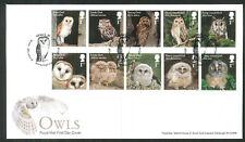 2018 FDC - Owls Set of 10  -Barn Meadow Birmingham  Postmark