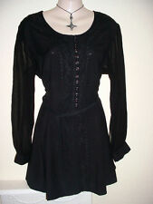 BLACK COTTON GOTH HIPPY BOHO JORDASH TOP/BLOUSE FREE SIZE