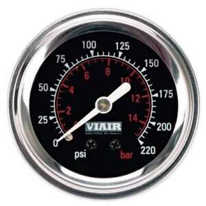 VIAIR 90090 2in Single Needle Gauge (Black Face Illuminated 220 PSI)