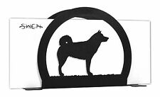 Swen Products Alaskan Malamute Dog Black Metal Letter Napkin Card Holder