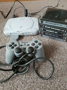 PS One Sony PlayStation PS1 Tested Working Console & controller 5 Game crash ban