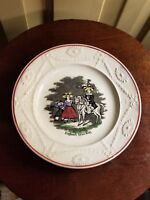 ANTIQUE CHILD'S ENGLAND'S FUTURE KING ABC STAFFORDSHIRE TRANSFERWARE PLATE