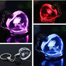 Women Men Keyring Heart Pendant Square Crystal LED Light Charm Keychain Key Ring