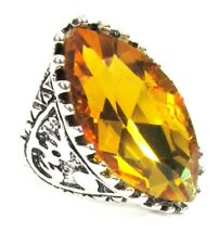 Large Yellow Cocktail Ring Simulated Citrine Stone Sz 11 NEW