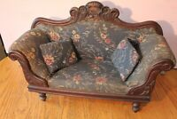 Antique Doll Couch Victorian Fainting Couch Sette Lounge Toile wooden Upholstery