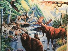 """Wildlife fabric panel 44""""x 36""""Moose Bears wolves antelope awesome! scenic nature"""