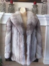 Blue Fox Fur Coat with matching gloves and hat