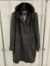 NEW $1695 BURBERRY WOOL CASHMERE FOX FUR TRENCH COAT JACKET UK14 US12 IT46