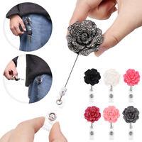 Rose Flower Shape Retractable Pull Badge Reel ID Lanyard Name Tag Card Holder