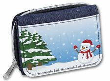 Snow Man Girls/Ladies Denim Purse Wallet Christmas Gift Idea, Snow-1JW