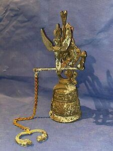 Vintage Brass Wall Mount Cherub Angel Door Bell Qui Me Tangit Vocem Meam Audit