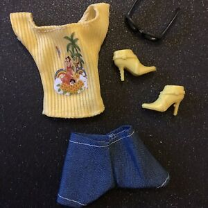 Dolls Clothes Bundle Set Barbie Outfit Yellow Top & Shorts With Yellow Boots