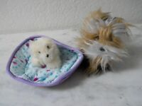 American Girl Doll Pet Dogs - Yorkie and White Dog in American Girl Dog Bed -EUC