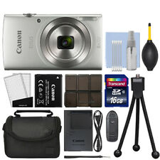 Canon IXUS 185 / ELPH 180 20.0MP Digital Camera 8x Optical Zoom Silver+ 16GB Kit
