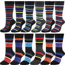 12 Pairs YDST6+8 New Cotton Men Striped Style Dress Socks Size 10-13 Multi Color