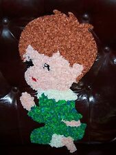VINTAGE MELTED PLASTIC POPCORN WALL DECOR, PRAYING BOY