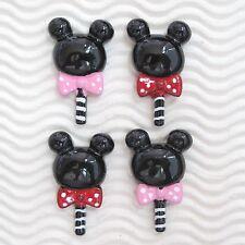 """20 pcs x 1.5"""" Resin Flatback Valentine Lollipop Mickey/Minnie Candy w/Bow SB573W"""