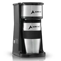 AdirChef Grab N' Go Personal Coffee Maker with 15 oz. Travel Mug Black/Stainless
