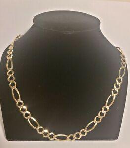 10k Solid Gold Diamond Cut Figaro Chain