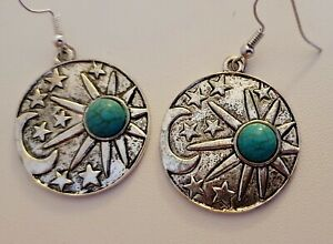 Sun And Moon Turquoise Earrings Celestial Space Planets Mystical